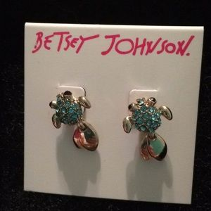 Betsey Johnson blue stone fish earrings